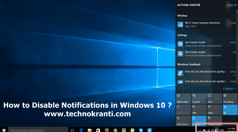 How to Disable Notifications and Action Center in Windows 10